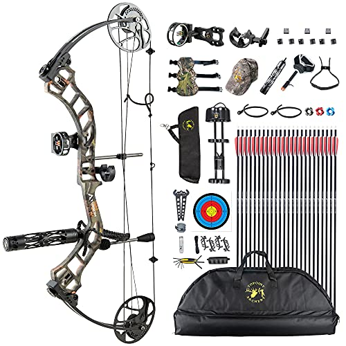 Topoint Trigon Compound Bow Full Package,CNC Milling Riser,USA Gordon Composites Limb,BCY String,19'-30' Draw Length,19-70Lbs Draw Weight,IBO 320fps (Forest CAMO)