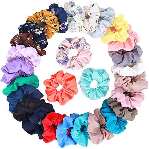 Lot de 28 chouchous élastiques en mousseline de soie pour queue de cheval, comprend 20 chouchous en mousseline de soie de couleur unie et 8 chouchous en mousseline de soie de couleur florale.