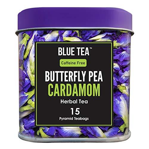 BLUE TEA - Schmetterlingserbsenblüte Kardamom Kräutertee - 15 Pyramidenteebeutel (30 Tassen) | Premium Blechpackung |