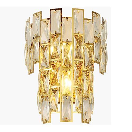 Ajuste Fácil E14 Dorado Cristal Lámpara De Pared,Cabecera Corredor Hotel Bar Luz De Pared,Proceso De Galvanoplastia Lujoso Aplique Pared-Dorado 22x40cm(9x16inch)