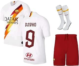 Dzeko #9 2019-2020 AS Roma Kids/Youths Away Soccer Jersey/Short/Socks Colour White