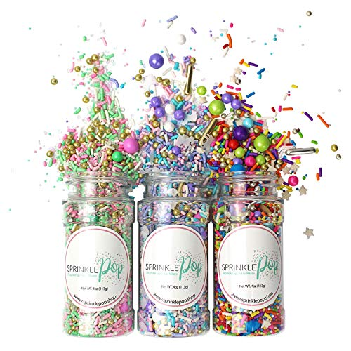 Unicorn| Signature Pink| Rainbow Road Sprinkles Mix| Party Pack Colorful Candy Sprinkles Mix For Baking Edible Cake Decorations Cupcake Toppers Cookie Decorating Ice Cream Toppings, 12OZ