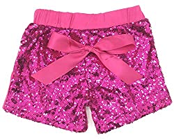 Hot Pink Sequin Short Pants with Bow