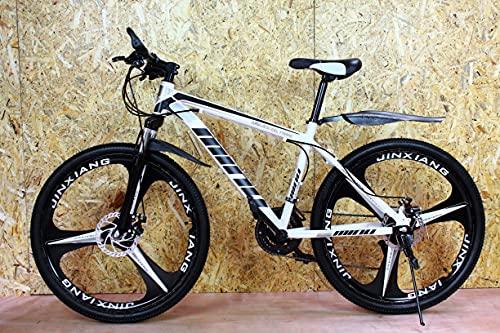 Bicicleta de montaña junior blanca y negra 26'' rueda 21 velocidad marco de acero frenos de disco niños y niñas