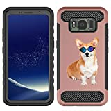 [NickyPrints]  Galaxy S8 Active Hybrid Case  - Corgi Dog Design Printed with Embossed Effect - Unique Dual Layer Full Protection Shockproof  Galaxy S8 Active  Rose Gold Case / Cover