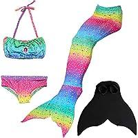 ShiyiUP 3pcs Traje de Baño de Cuello Hálter con Cola de Sirena Bikini Set para Niña con Juego de Aleta