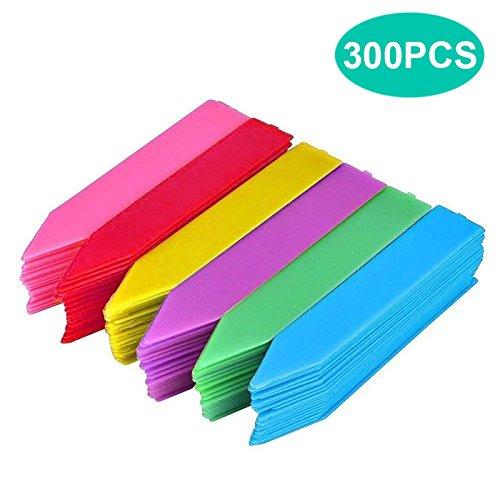KINGLAKE 300 STK Wetterfest Pflanzenschilder Kunststoff Pflanzenstecker Dick Stecketiketten Plastik Etiketten für Pflanzen, 6 Farben
