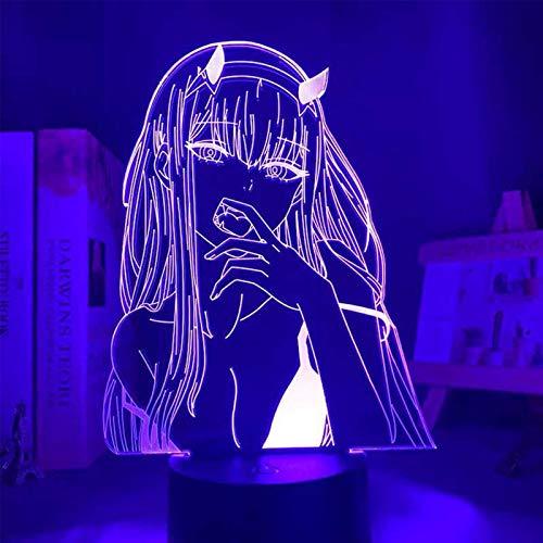 Luz de noche LED 3D Darling in Franxx, personaje de anime, lámpara de ilusión, tres patrones y lámpara decorativa que cambia de 16 colores -regalos perfectos para niños y habitaciones
