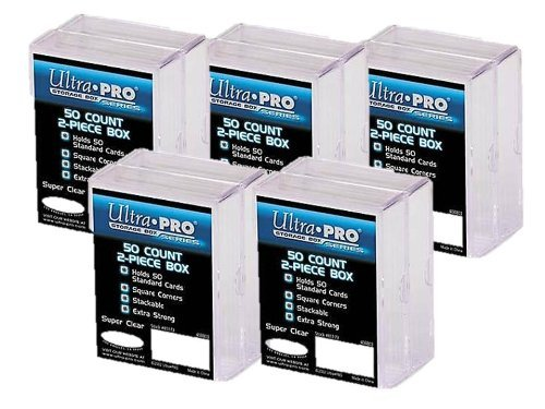 Ultra Pro 2-Piece Clear Card Storage Box | Holds 50 Standard Cards | 2 boxes per pack | 5-Pack Total