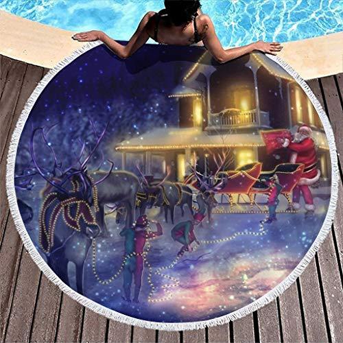 MINNOMO Toalla de playa redonda con diseño de árbol de Navidad con luces y trineo de Papá Noel, con borlas, para vacaciones o picnic, color blanco, 150 cm