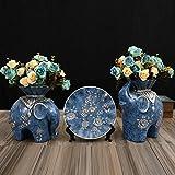 YACAOS Adornos Escultura Creativa Americana Muebles para el hogar Sala de Estar Porche TV Gabinete Vinoteca Decoraciones Suaves Elefante Adornos Regalo de Boda Tres Piezas + Bouquet
