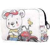 Beauty Case da viaggio White Bear motocicletta Valigetta per Cosmetici Borsa Organizzatore Lavabile da Viaggio per Truccatrici con Settori 18.5x7.5x13cm