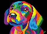 WISKALON Pintar por Numeros Kits 40 X 50 cm DIY Pintura al leo para Adultos y Nios DIY Pintura acrlica con Lupa 3X, Pinceles y Pinturas - Perro Lindo Colorido (Sin Marco)
