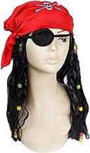 BESTOYARD Piratenkostüm setzt Halloween Piraten Augenklappe Kopftuch und Perücke für Erwachsene Halloween Piraten Cosplay Kostümzubehör