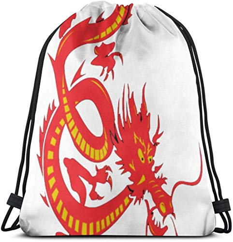 Yuanmeiju Chinese New Year Red Dragon 3D Print Drawstring Backpack Rucksack Shoulder Bags Gym Bag for Adult 16.9'X14'