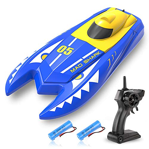 ZWN H128 RC Boat, 2.4GHz High-Speed Remote Control Racing Boats Toy for Kids, Water Sensing Device, 20 Minutes Play time, 15km/h High-Speed, with One Extra Battery, Blue Double-Headed Monster