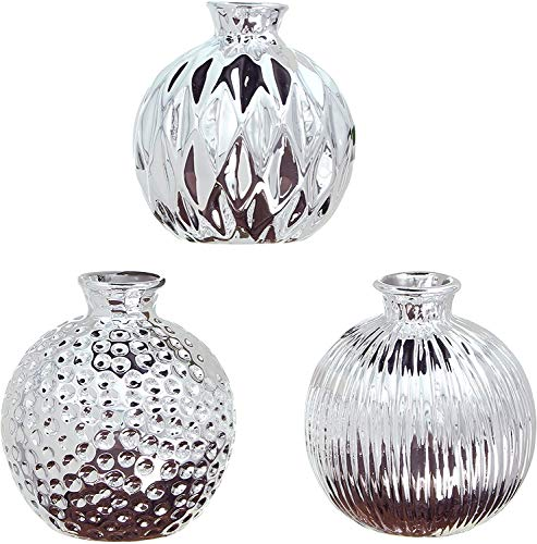 khevga Deko-Vase Silber im 3er Set aus Porzellan