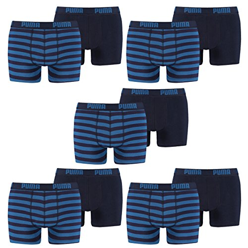 PUMA Herren Striped 1515 Boxer Boxershort Unterhose 10er Pack blue 056 - S