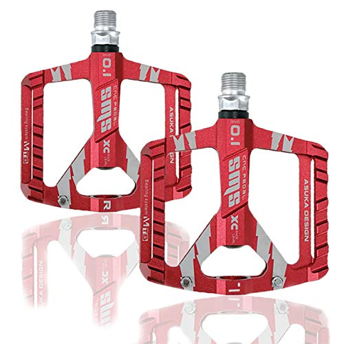 Arcwares Bicycle Pedals, Road Bike Pedals with Excellent Grip, Lightweight Ergonomic Pedals for Bike, Waterproof and dustproof MTB Pedals, Wide and Comfortable Aluminum Pedals(Red)