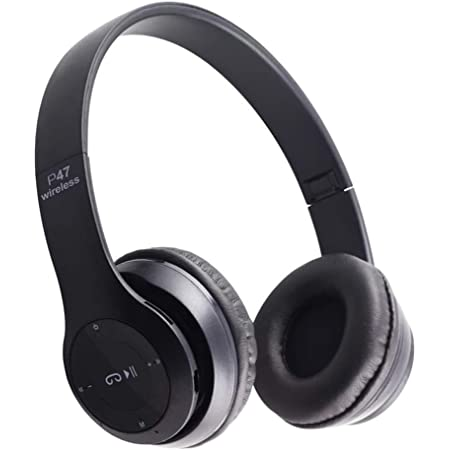 perfk Bluetooth Headphones Over Ear, Stereo Wireless Headphones Noise Cancelling, Wireless Headset with Mic and Wired&TF Card Mode for Cell Phones/PC/TV - Black