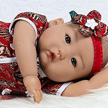 Paradise Galleries Asian Real Life Baby Doll Mei 20 inch Reborn Baby Girl Crafted in GentleTouch Vinyl & Weighted Cloth Body 4-Piece Gift Set