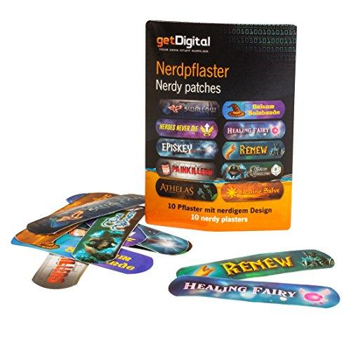 getDigital 14266 Nerdpflaster | Set mit 10 selbstklebenden Pflastern, jedes mit einem anderen nerdigen Heilzauber aus Videospielen, Filmen und RPGs