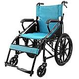 LKAIBIN Silla de ruedas plegable, ligera, portátil, autopropulsada, ultraligera con reposabrazos plegables, adecuada para no poder soportar, silla de ruedas de aluminio
