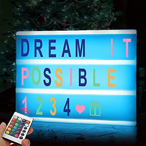 Amzeeniu Caja de Luz LED en Formato A4 Caja de Luz de Cine con 192 Letras Cartas, Emojis,MandoAlimentado por batería y USB para Boda, Aniversario, Cumpleaños,Avidad Fiesta Decoración,Cartel Luminoso