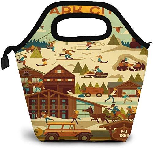 Utah Ski Resort Travel Park City Insulated Lunch Bag Custom Bento Box Picnic Cooler Portable Handbag Lunch Tote Bag for Women Girl Men Boy