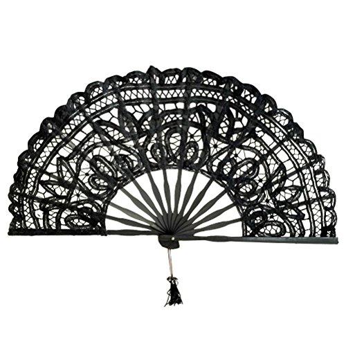 BESTOYARD pizzo pieghevole ventole cotone ventaglio Bamboo ventola pizzo pieghevole ventola regalo per donna (nero)