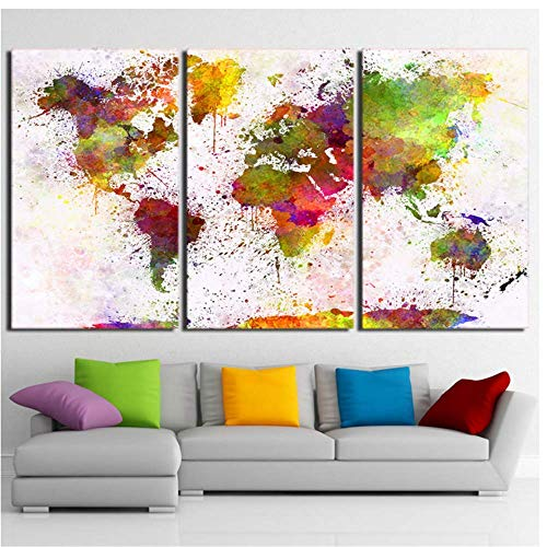 Lienzo Arte De La Pared Decoración De La Lona Envío De La Gota Hd Impreso Arte De La Lona Color Mapa Del Mundo Continente De La Pared...