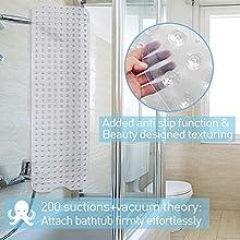 Alfombra De Baño Antideslizante, Alfombrilla para Bañera para Bañeras con Potentes Ventosas, Lavable a Máquina Alfombrilla de Ducha, 100 x 40 cm, Transparente