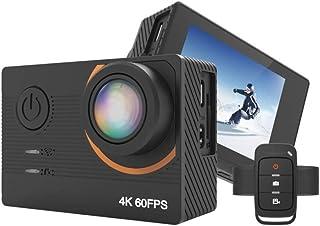XuZeLii Cámara De Acción Deportiva EIS Control Remoto acción del Deporte Impermeable cámara 4K Ultra HD de vídeo en Vivo WiFi Estabilizador Apto para Exteriores (Color : Black Size : One Size)