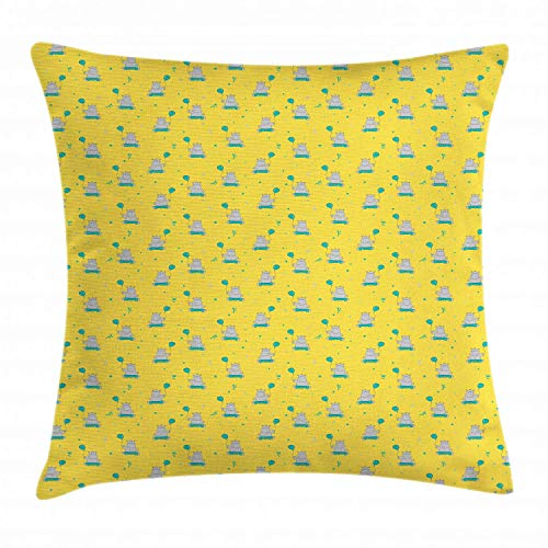 tyui7 Kissenbezug für Hippo-Wurfkissen, wenig lächelndes Hippo, das einen Ballon-Cartoon-Stil sitzt und hält, Dekor-quadratischer Akzent-Kissenbezug, 45 x 45 cm, blasser Sage grüner Knickenten-Senf