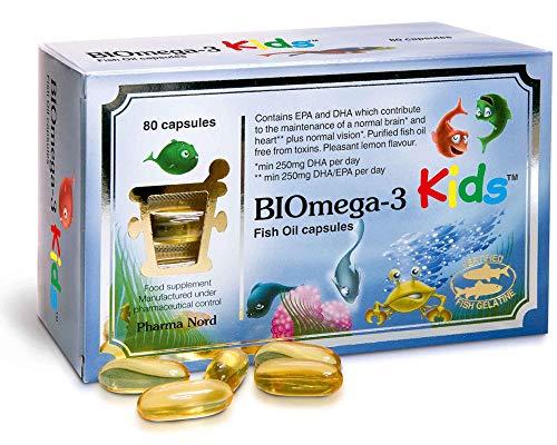 Pharma Nord BIOmega 3 Kids Fish Oil - 80 Capsules (Pack of 4)