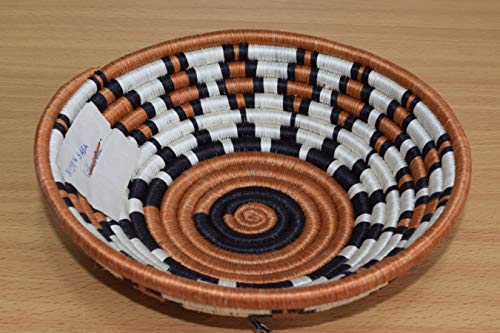 Small Hand Woven African Basket - 8 Inches Sisal & Sweetgrass Basket - Handmade in Rwanda - Gingerbread/Cinnamon Brown, Black, SRB114