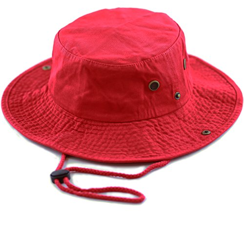 The Hat Depot 300N1510 Wide Brim Foldable Double-Sided Outdoor Boonie Bucket Hat (S/M, 2. Cotton - Red)