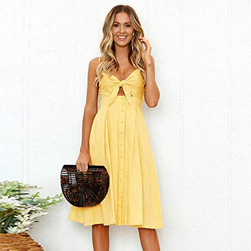 Ropa de Mujer Vestidos Sexy Backless Women Summer Dress Sundress Lady Vintage Dresses Strap Buttons Casual Dress-1_S