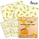 Emballage Alimentaire Réutilisable de Cire d'abeille | Bee's Trend | Bees Wrap | Film Alimentaire Ecologique Lavable pour Conserver Vos Aliments | Lot de 4 : 2xM, 2XL | Deux modèles | Zéro déchet7 …