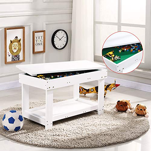 YouHi Kids Activity Table with Board for Bricks Activity Play Table (White Double Table)