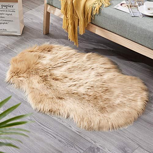 Rovinci Shaggy - Alfombra de Pelo Largo de Piel de Oveja de Color Liso para salón, Dormitorio o sofá, Caqui, 60 x 90 cm