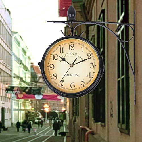 Samger Samger Reloj de Doble Cara Jardín Tren Estación Reloj de Pared con Soporte (Negro)