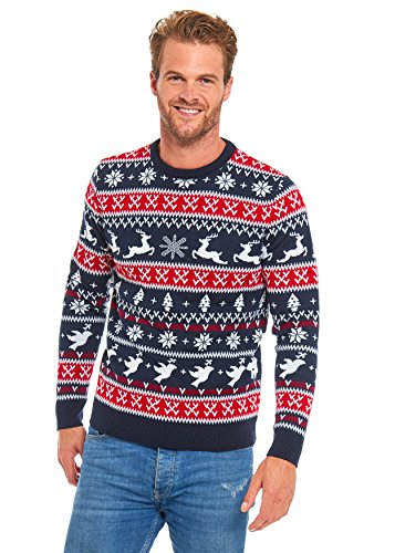 Unisex Men's Christmas Sweater Ugly Pullover Knitted Santa Reindeer Classic Fair Isle, Large Red