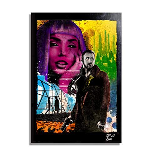 Oficial K (Ryan Gosling) de la pelicula Blade Runner 2049 - Pintura Enmarcado Original, Imagen Pop-Art, Impresion Poster, Impresion en Lienzo, Cuadro, Comics, Cartel de la Pelicula