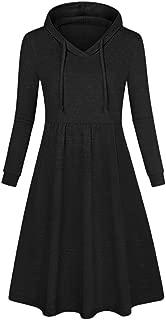 ☀Women's Hooded Pleated Swing Dress, Casual Plus Size Long Sleeve Midi Dress
