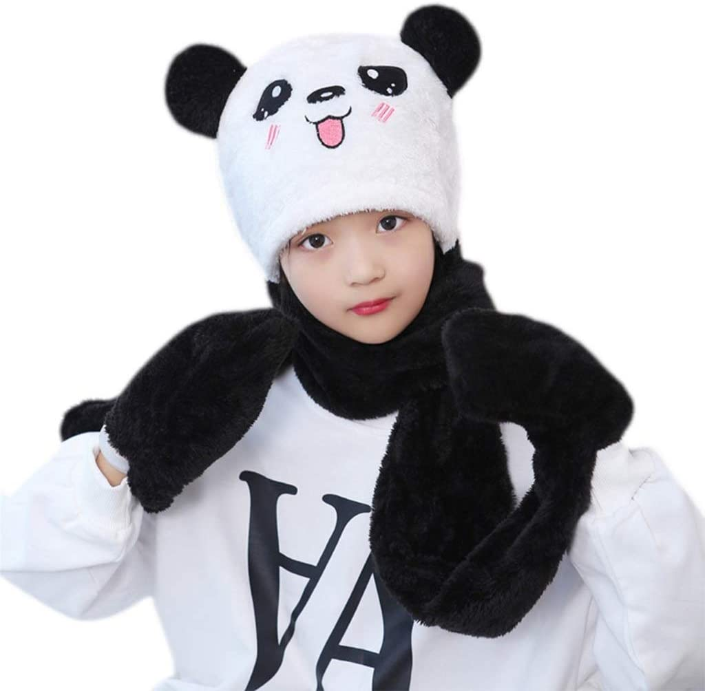 PDGJG Kids Baby Winter 3 in 1 Hat Scarf Gloves Set Cute Panda Animal Ears Thicken Fuzzy Plush Hoodie Earflap Cap Neck Warmer (Color : C, Size : Small)