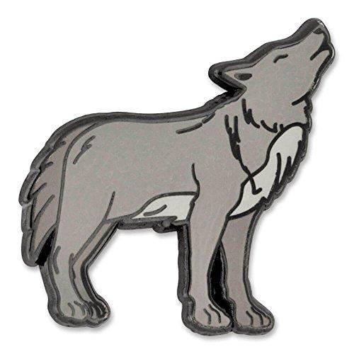 PinMart Gray Howling Wolf Wild Animal Enamel Lapel Pin