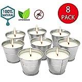 Candele alla citronella, candela per secchio di cera, latta per candela portatile per interni esterni, confezione da 8 pezzi