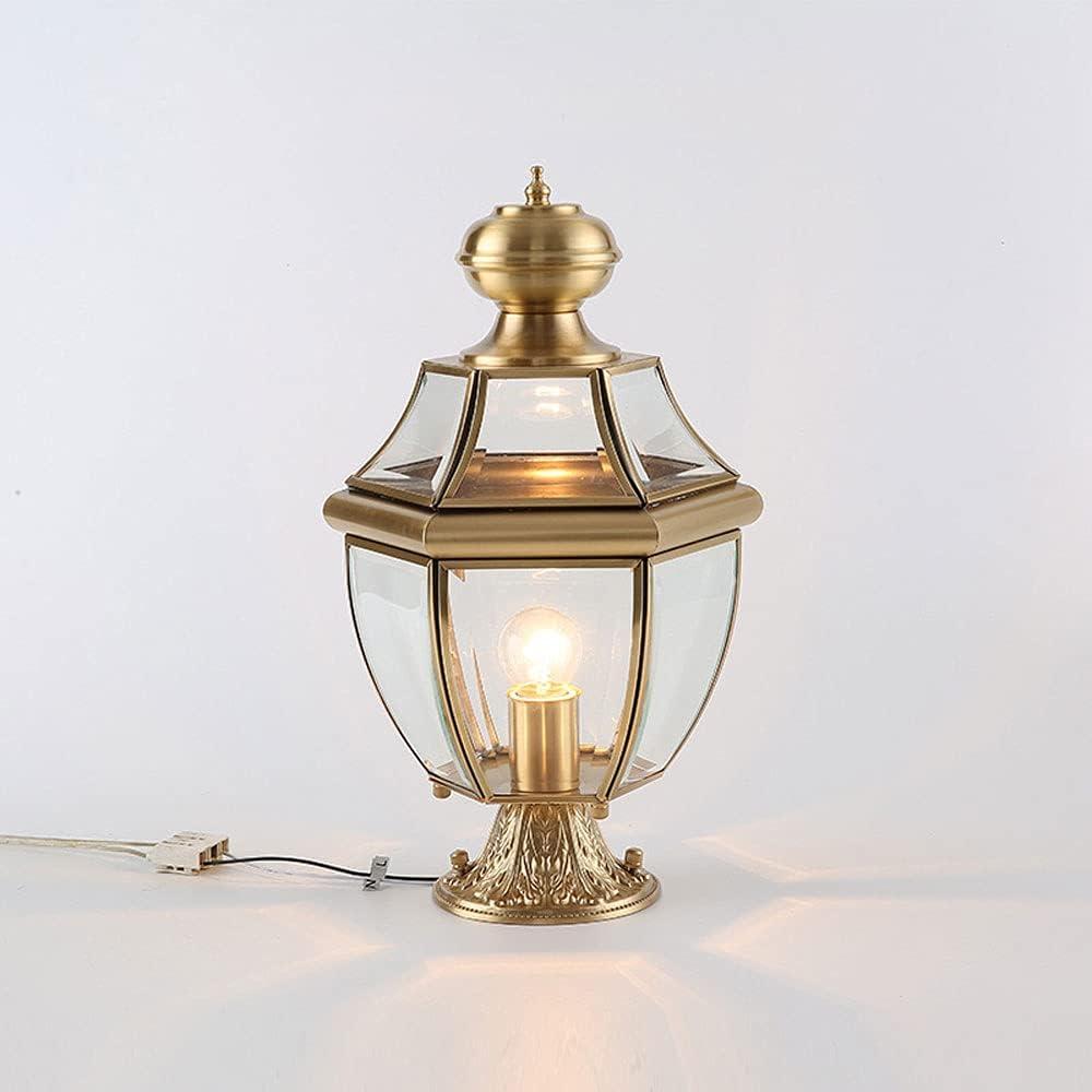 NAMFHZW low-pricing American Courtyard Outdoor Lighting Gl Brass Column Lamp store