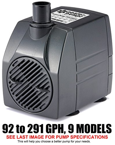 PonicsPump PP12016: 120 GPH Submersible Pump with 16' Cord - 6W… for Fountains, Statuary, Aquariums & more. Comes with 1 year limited warranty.